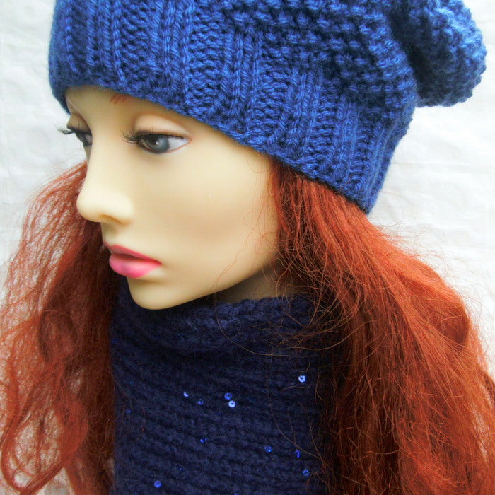 CRETE Womans Handknit Chunky Woolen Reversible Cowl in Deep Royal Blue with Sparkling Sequins