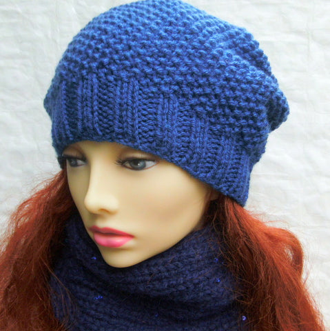 """ROXANNE"" Womans Handknit Slouch Hat in Royal Blue Wool"