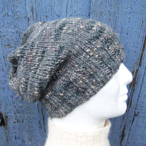 """CHARLEY"" Mans Handknit Slouch Beanie in Grey Tweed Wool"