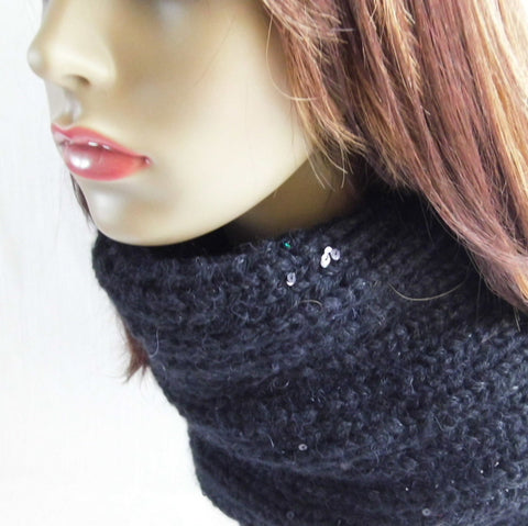 womans handknit chunky black woolen cowl with sparkling sequins