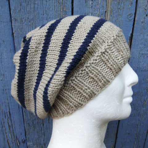 "Knitting Pattern for ""CAMPUS"" Striped Slouchy Beanie for Men , Women and Teens/Knit Round"