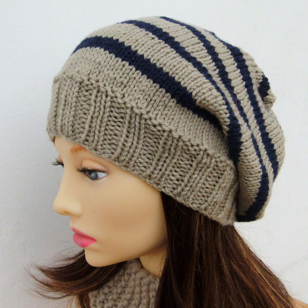 """CAMPUS"" Knitting Pattern for Striped Slouchy Beanie for Men , Women and Teens"