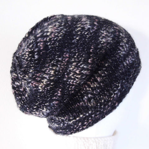 BOGLAND Handknit Black Slouchy Beanie in Tweed Wool for Men and Teen Boys