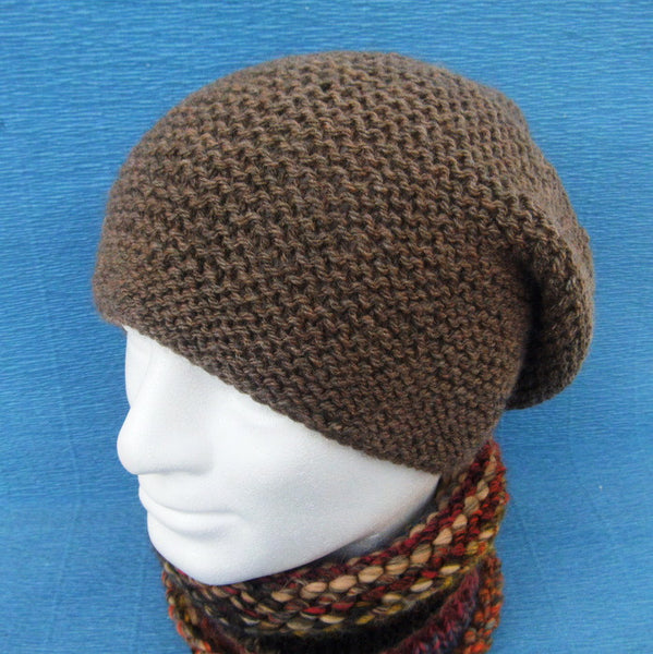 """PORTLAND"" Brown Slouchy Hat Handknit in Pure Wool for Men and Women"