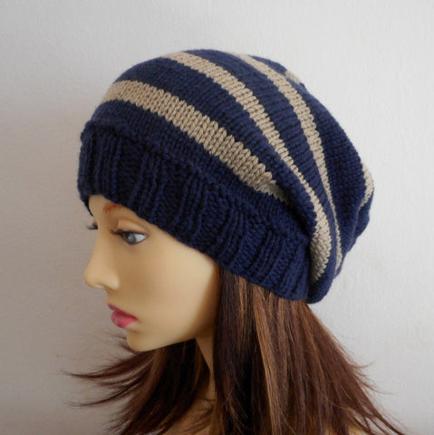 "Knitting Pattern for ""CAMPUS"" Striped Slouchy Beanie for Men , Women and Teens Knit Straight"