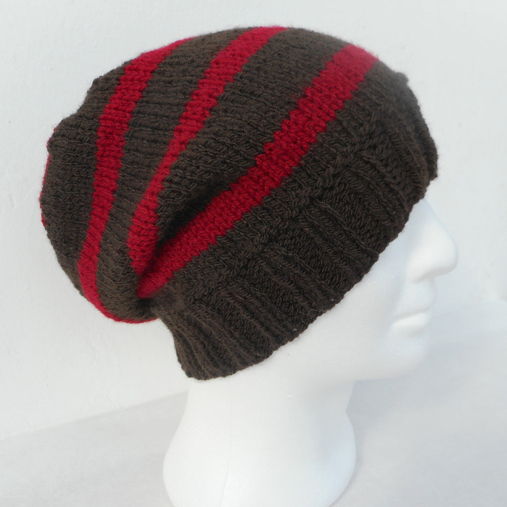 Knitting pattern for campus striped slouchy beanie for men knitting pattern for campus striped slouchy beanie for men women and teens bankloansurffo Images
