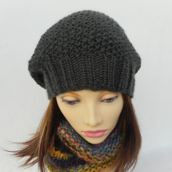 ROXANNE Womans Handknit Slouch Hat in Royal Blue Wool