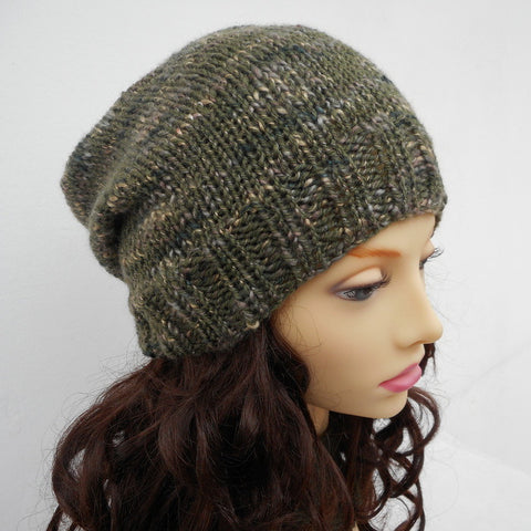 Knitting Pattern For Garryvoe Slouch Beanie Hat For Men Women And