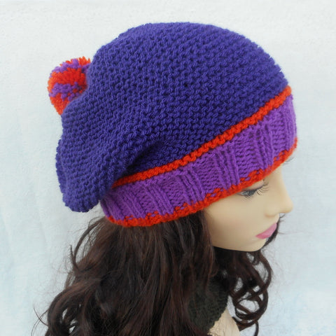 CAROLINA Womans Slouchy Beanie with Pompom in Purple and Orange