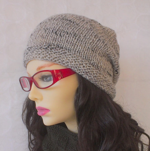 womans cream oatmeal tweed woolen handknit slouchy beanie