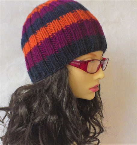 SAM Handknit Striped Ribbed Beanie for Men, Women and Teens in Purple, Orange and Navy Blue