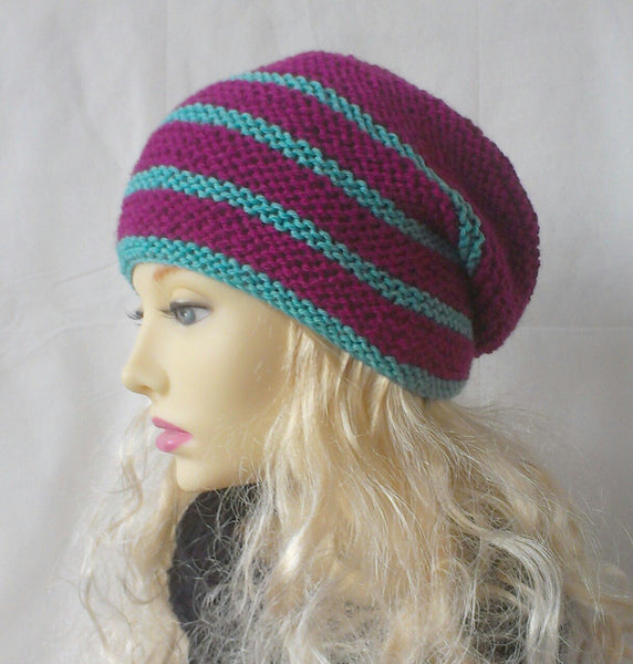 womans handknit raspberry and mint striped beanie