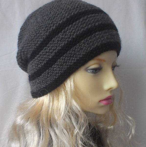 Womans Handknit Slouch Hat in Grey and Black Stripes