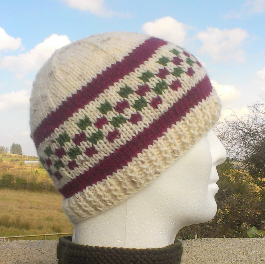 mans handknit cream woolen beanie with olive and wine checks and stripes