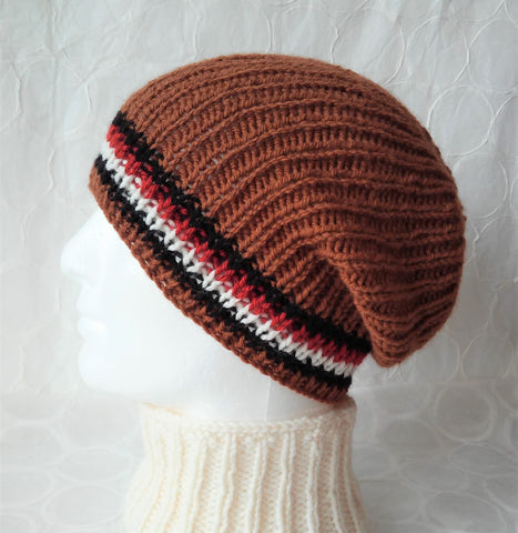 mans knit ribbed fishermans beanie hat toque skullcap in brown wool