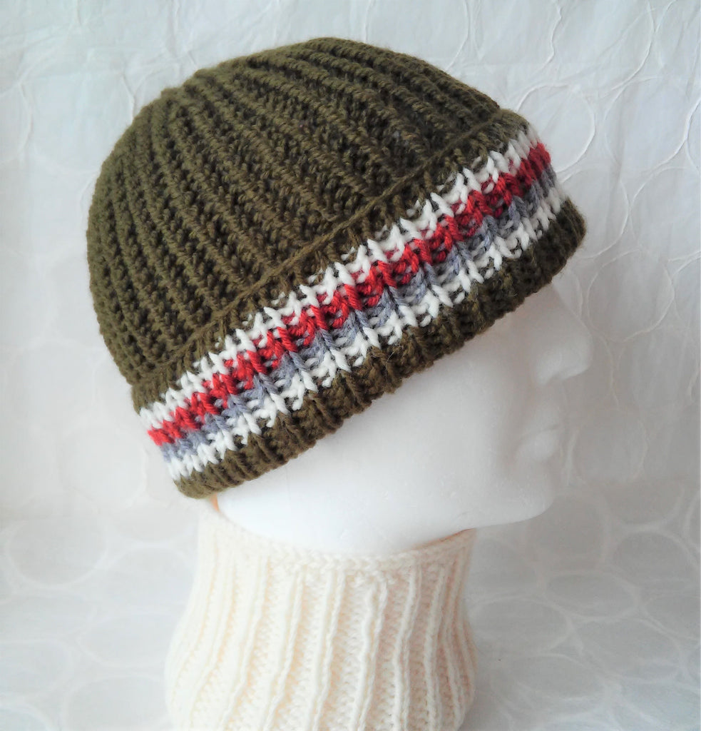 KILLYBEGS Mans Handknit Woolen Reversible Ribbed Fishermans Slouch Beanie or Skullcap in Olive Green