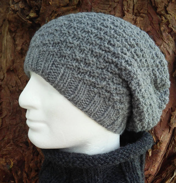 grey woolen handknit textured beanie toque for men women teens