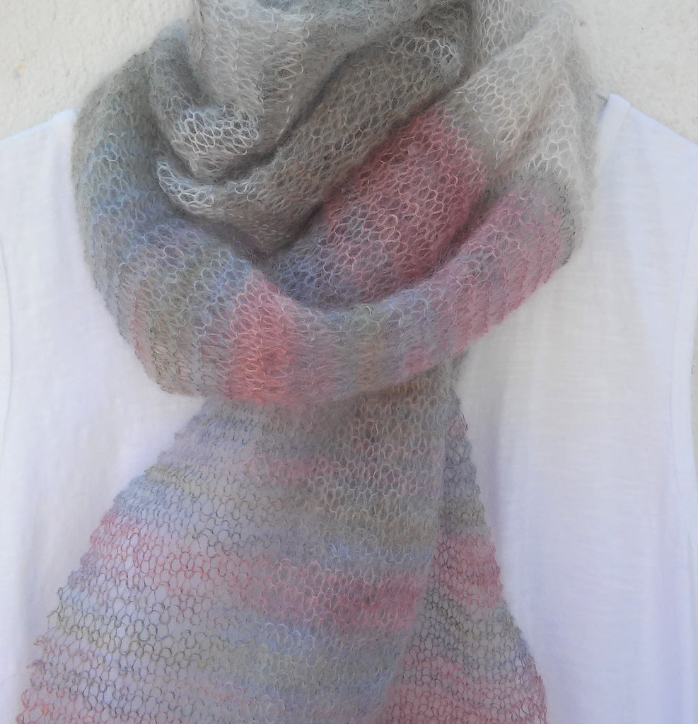 long mohair handknit scarf in muted pastel tones