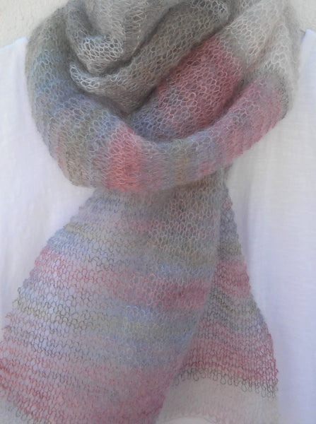 FREE KNITTING PATTERN for SILVER STRAND SCARF/SHAWL