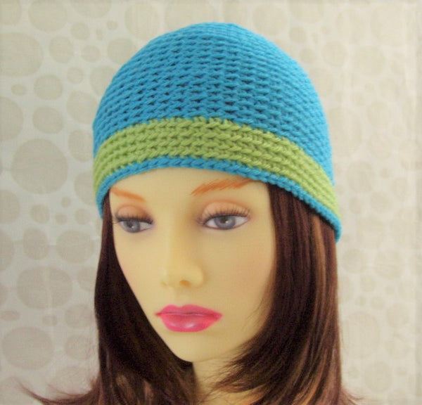 AQUA Womans Handmade Crochet Cloche Hat in Aqua and Lime Pure Wool