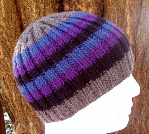 mans striped ribbed handknit beanie pattern knitting pattern