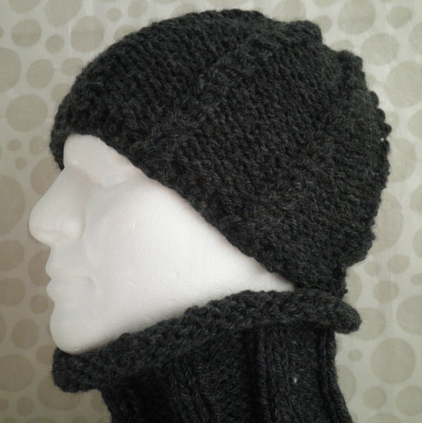 LORCAN Mans Handknit Charcoal Gray Cowl
