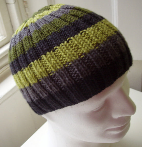 "KNITTING PATTERN for ""FINN"" Mans Striped Ribbed Beanie in Pure Wool/ Knit in the Round"