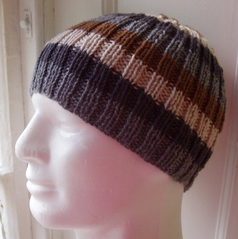 "Knitting Pattern for ""FINN"" Mans Striped Ribbed Beanie in Pure Wool/ Knit Straight"