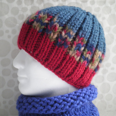 "KNITTING PATTERN for ""BASIL"" Chunky Knit Ribbed Beanie in Three Colours/ Easy / Knit Straight or Round"
