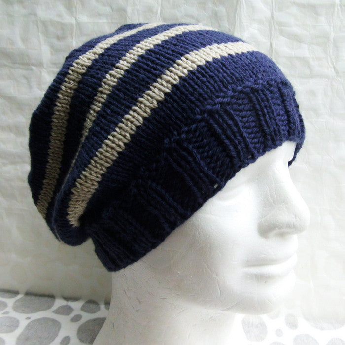 Mans cream checked handknit hat