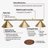 Sage Arcade HJ Scott Aged Brass Bar 3-Shade Metal Light Lighiting Standard Lighting