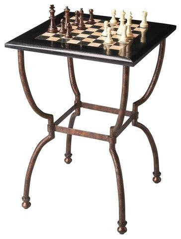 Sage Arcade Butler Furniture Fossil Stone Chess Game Table 6061025 Game Table Butler Furniture
