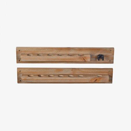 Sage Arcade CR206AG HJ Scott 6-Cue Modern Rustic Wall Rack with Bridge Clip Furniture Cue Racks