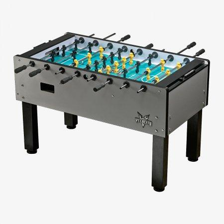 Sage Arcade VF5000 HJ Scott® Velocity Foosball Table, Silver Game Table Cueandcase