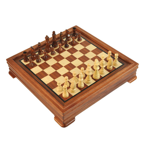 Sage Arcade 5-in-1 Rosewood & Maple Chess, Checkers, Backgammon, Cribbage and Dominoes Game Wooden Set Chess WBG