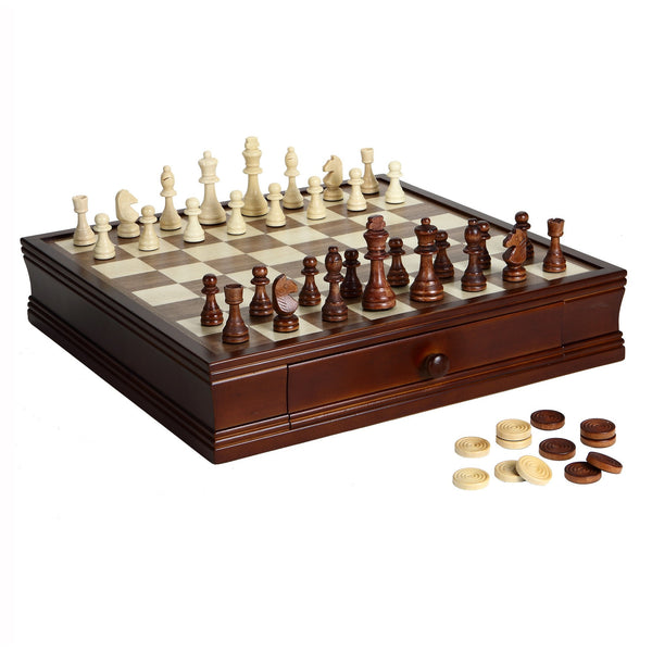 Sage Arcade Prodigy Wood Chess & Checkers Set with Walnut and Maple Top Chess The Hathaway Sports