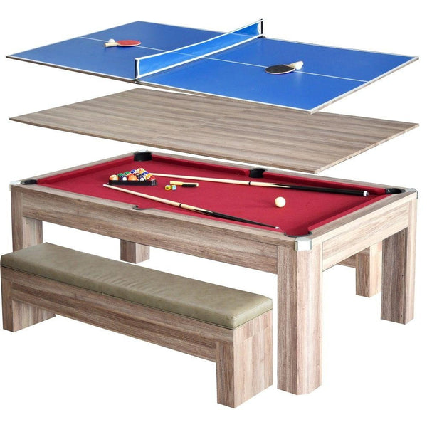 Sage Arcade Newport 7' Pool Table Set with Benches Multi-Game Tables Carmelli