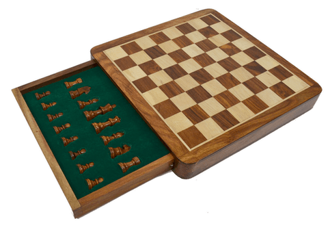 "Sage Arcade Compact Sheesham Folding Magnetic Traveling Chess Set 10"",14"" Chess WBG"