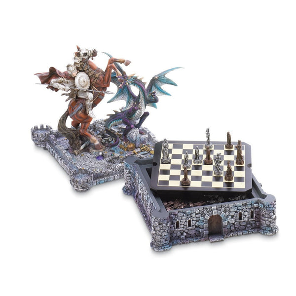 Sage Arcade Dragon Crest Midieval Knight & Dragon Chess Set Chess Dragon Crest