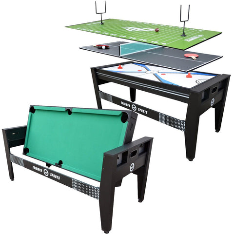 "Sage Arcade Triumph 72"" 4-in-1 Billiards, Air Hockey, Ping Pong, and Table Football Game Table Multi-Game Triumph"