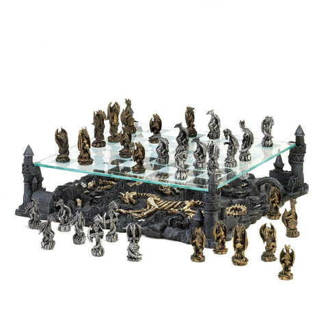 Sage Arcade Dragon Crest Two Tier Dragon Silver & Gold Chess Set Chess Dragon Crest
