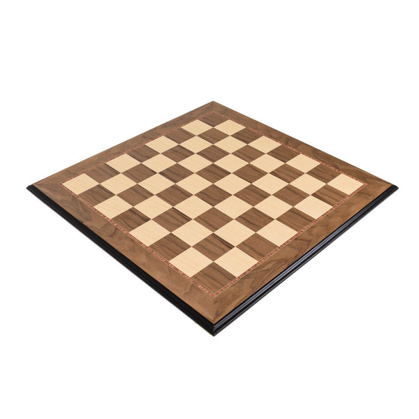 "Sage Arcade Walnut Wood Chess Board - Decorative Edge with 2"" Squares Chess WBG"