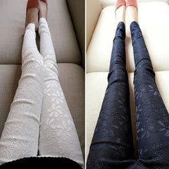Embroidered Lace Stretch Leggings Skinny Pants for Women