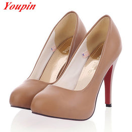 Fashion Round Toe Soft Leather Party pump shoes for women