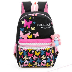 Butterfly & Flower print Canvas School Bags / Backpack for Girls