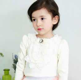 Sweet Lace Design & Pearl with Velvet Bow Tops / Tees for Girls