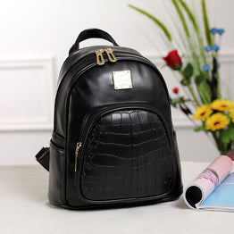 High Quality Alligator Design Soft Pu Leather Travel Back Pack For Women