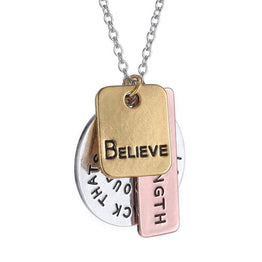 Believe Coin Hand Stamped Long Chains Charming Necklace for Girls