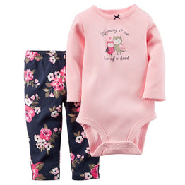 Spring Style Little Character Long Sleeve 2pcs Cotton Girl/Boy's Clothing set