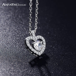 Silver Color AAA  Zircon Heart Romantic Fashion Pendant Necklace For Women
